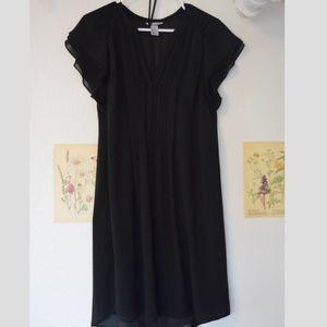 Black Half Button Down Belted Shift Dress